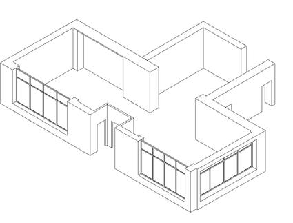 Параметрическая модель торгового зала, созданная по обмерам