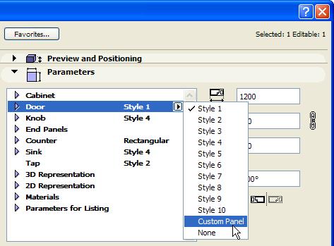 Параметр Стиль дверей выставляем в значение Спец.панель
