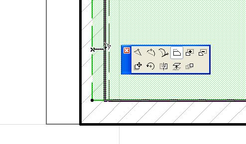Выравниваем грань перекрытия по внутренней грани наклонной стены