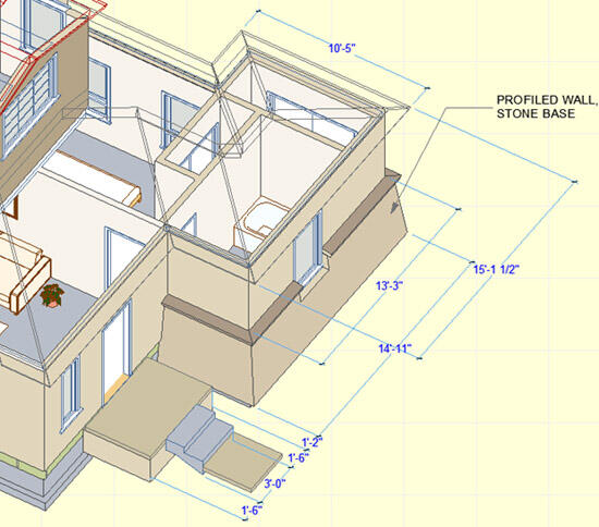 Рисунок 19. На этом 3D-чертеже крыши переведены в каркасный режим отображения