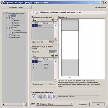 Рис. 3. Задаем схему разрезки стены: основная (прозрачная) панель – белая, дополнительная (глухая) – серая