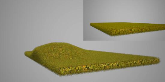 Травяной покров в Maxwell Render. Визуализация сделана прямой «отправкой» из ArchiCAD в Maxwell Studio, где использовался генератор травы