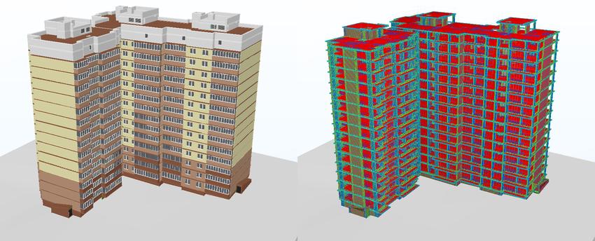 Рис. 1. Информационные (BIM) модели жилого здания: архитектурная и конструкторская часть