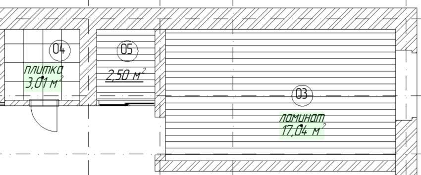 Рис. 15. Отображение значения площади и напольного покрытия на плане