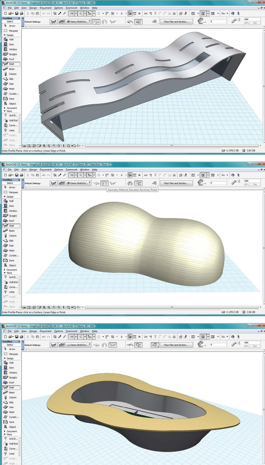 Рис. 1. Три типа оболочек, которые можно создать в ArchiCAD 15 (сверху вниз): выдавленная, с вращением и с переходом