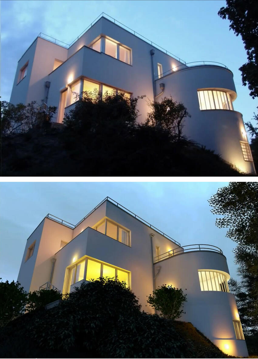 Рис. 1. Верхнее изображение - это реальная фотография здания, а нижнее - визуализация, сделанная в ArchiCAD 18 с того же ракурса