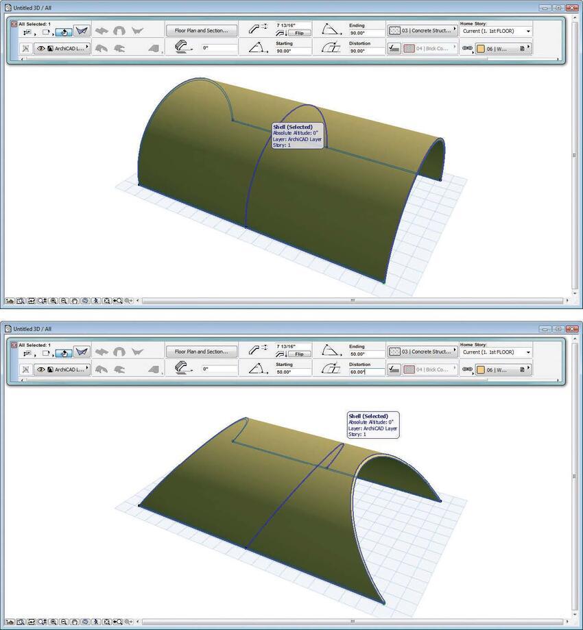 Рис. 2. Результат изменения начального и конечного углов, а также угла искажения для простой выдавленной формы, созданной с помощью инструмента Оболочка. Исходная оболочка показана на верхнем изображении, а результат изменения – на нижнем