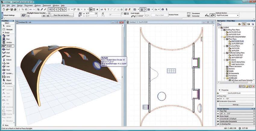 Рис. 6. Добавление световых люков к простой изогнутой оболочке. На плане этажа видны их точные 2D-представления