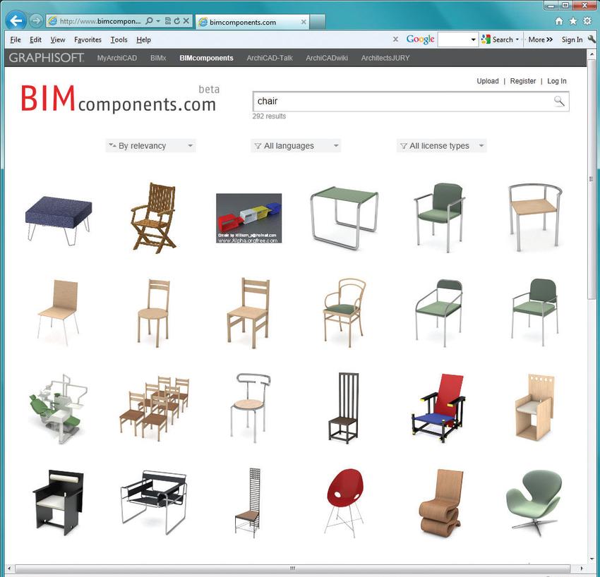 Рис. 6. Web-сайт портала BIM Components