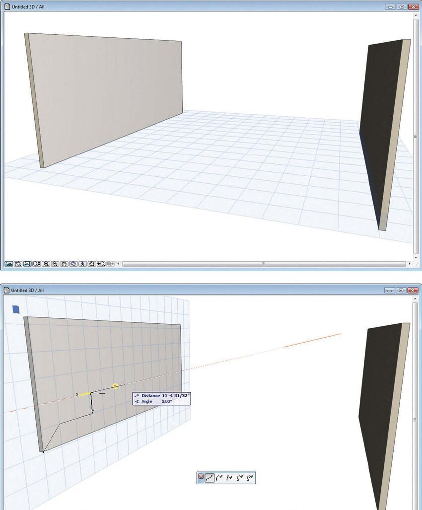 Рис. 7. SD-плоскость редактирования автоматически совмещается с поверхностью, где создается контур оболочки. Начало координат устанавливается в вершину поверхности, а для более точного создания контура используется привязка