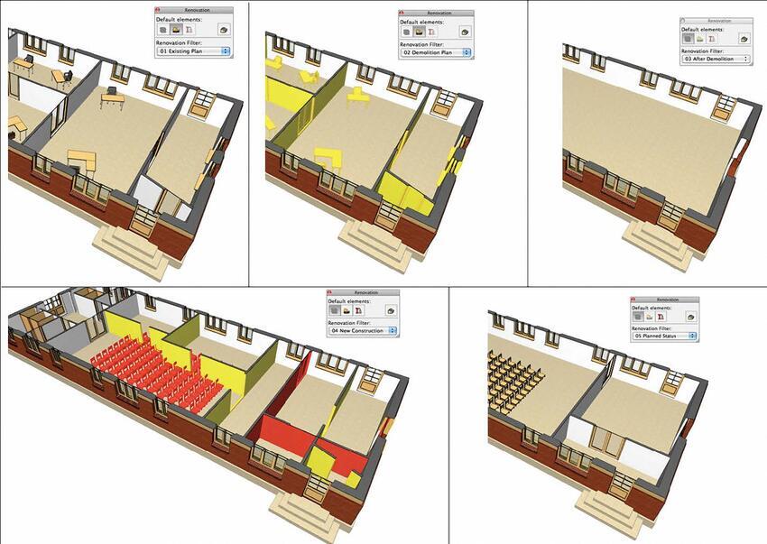 Рис. 9. Проект реконструкции с поочередным применением всех фильтров из палитры Renovation