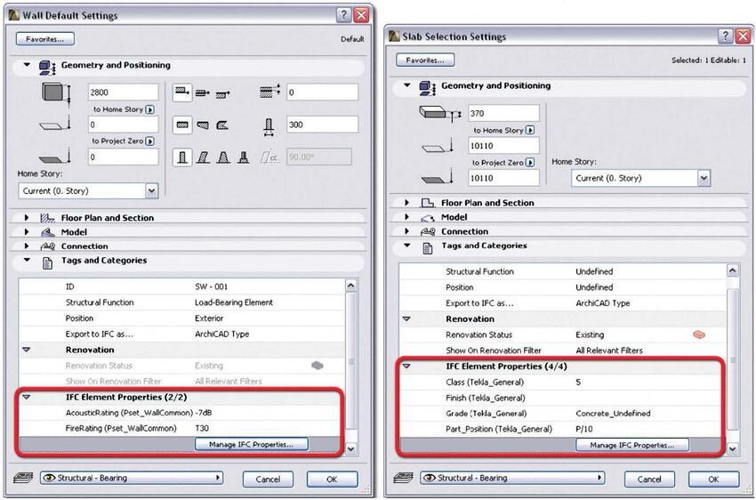 Рис. 11. IFC$свойства элементов, как и параметры ArchiCAD, можно редактировать в диалоговом окне настройки параметров