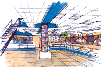 Эскиз торгового зала в подвальной части